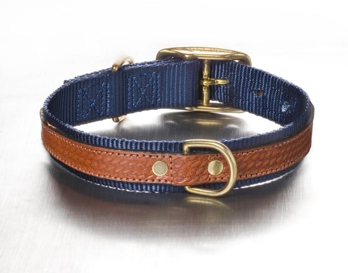 Blue Bison Leather Dog Collar