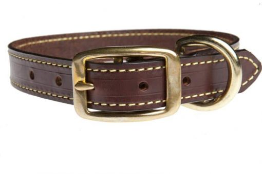 Unlined Bison Bridle Leather Collar-Walnut